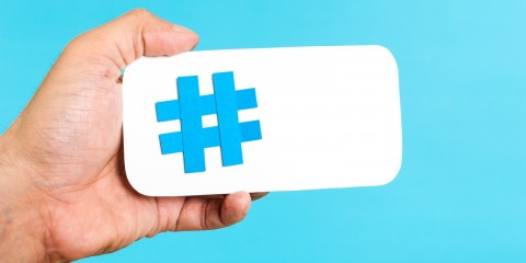 Mobile hashtag horizontal concept on blue background