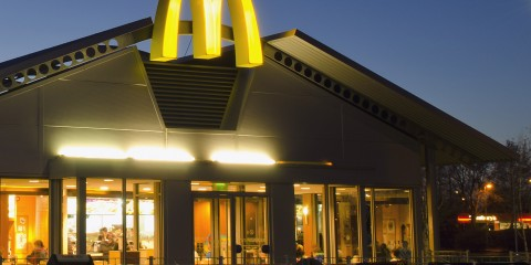 McDonald's restaurant at dusk, United Kingdom