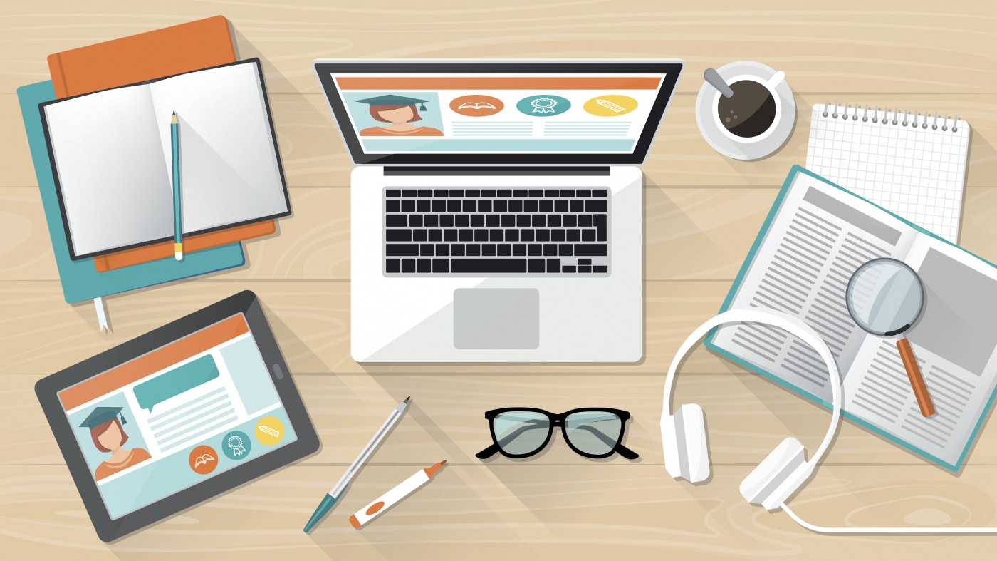 E-learning, education and university banner, student's desktop with laptop, tablet and books
