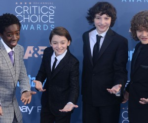 "SANTA MONICA, CA - DECEMBER 11:  ""Stranger Things"" stars Caleb McLaughlin, Noah Schnapp, Finn Wolfhard and Gaten Matarazzo arrive at the The 22nd Annual Critics' Choice Awards at Barker Hangar on December 11, 2016 in Santa Monica, California.  (Photo by C Flanigan/Getty Images)"